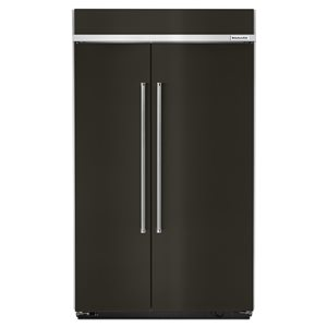 KitchenAid 30-cu ft Standard-Depth Built-In Side-by-Side Refrigerator (Fingerprint-Resistant Black Stainless)