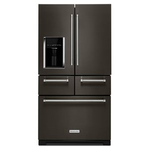 KitchenAid 36-in 25.8-cu ft 5-Door Refrigerator with Ice Maker (Black Stainless)