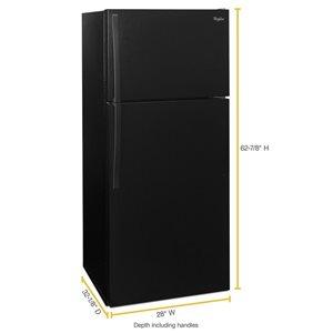 Whirlpool 28-in 14.3-cu ft Top-Freezer Refrigerator (Black) ENERGY STAR