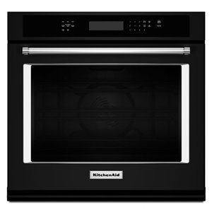 KitchenAid 27-in Convection Self-Cleaning Convection Single Electric Wall Oven (Black)