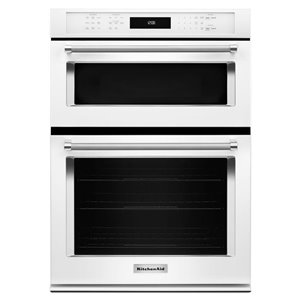 KitchenAid 27-in Self-Cleaning Microwave Convection Microwave Wall Oven Combo (White)