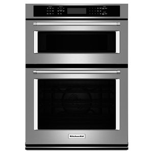 KitchenAid 27-in Self-Cleaning Microwave Convection Microwave Wall Oven Combo (Stainless Steel)