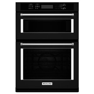 KitchenAid 27-in Self-Cleaning Microwave Convection Microwave Wall Oven Combo (Black)