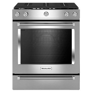 KitchenAid 30-in 5-Burner 5.8-cu ft Self-Cleaning with Steam Convection Gas Range (Stainless Steel)