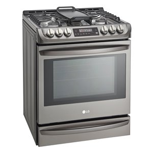 LG 30-in 5-Burner 6.3-cu ft Self-Cleaning True Convection Slide-In Gas Range (Fingerprint-Resistant Black Stainless Steel)