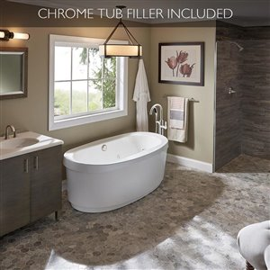 Jacuzzi Primo 59-in L x 30-in W x 23-in H White Acrylic Oval Freestanding Bathtub with Center Drain