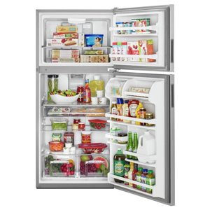 Maytag 30-in 18.2-cu ft Top-Freezer Refrigerator (Stainless Steel)