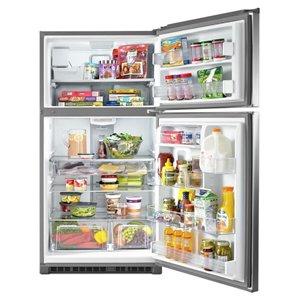 Maytag 21.2-cu ft Standard-Depth Top-Freezer Refrigerator with Ice Maker (Fingerprint-Resistant Stainless Steel)