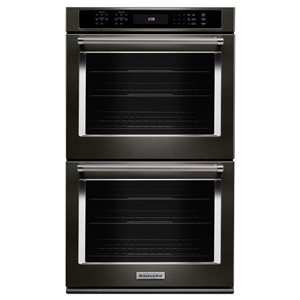 KitchenAid 27-in Convection Single-Fan Double Electric Wall Oven (Black Stainless)