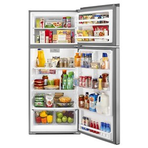 Whirlpool 28-in 17.6-cu ft Top-Freezer Refrigerator (Fingerprint Resistant Stainless Steel)