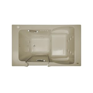 Jacuzzi Finestra Almond Acrylic Rectangular Bathtub with Left-hand Drain (Common: 30-in x 60-in; Actual: 38.5-in x 30.0-in x 60.0-in)