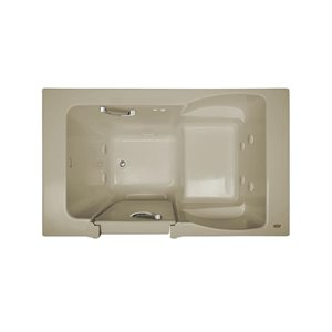 Jacuzzi Finestra Almond Acrylic Rectangular Bathtub with Left-hand Drain (Common: 36-in x 60-in; Actual: 38.5-in x 36.0-in x 60.0-in)