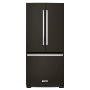KitchenAid 19.7-cu ft 3-Door Standard-Depth French Door Refrigerator with Single Ice Maker (Fingerprint-Resistant Black