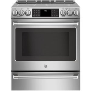 GE 30-in 5.6 cu ft Slide In Induction Range with Self-cleaning Convection Oven (Stainless Steel)