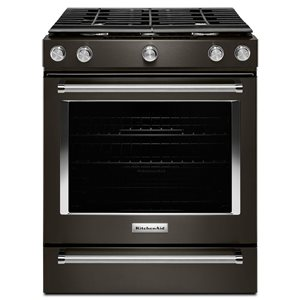 KitchenAid 30-in 5-Burner 5.8-cu ft Self-Cleaning Convection Slide-In Gas Range (Fingerprint-Resistant Black Stainless)