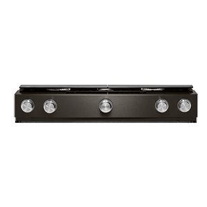 KitchenAid 5 Burners 5.8-cu ft Self-Cleaning Convection Slide-In Gas Range (Fingerprint-Resistant Black Stainless) (Common: 30-in; Actual: 29.88-in)