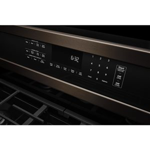 KitchenAid 30-in 5-Burner 3.9-cu ft / 2.1-cu ft Double Oven Convection Gas Range (Black Stainless)