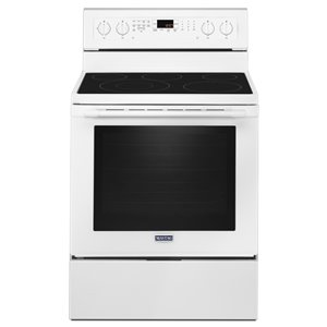 Maytag 30-in 6.4 cu ft Electric Range with Self-cleaning Convection Oven (White)
