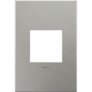 Legrand adorne 1-Gang Square Smooth Metal Wall Plate (Brushed Stainless Steel)