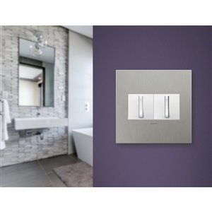 Legrand adorne 2-Gang Square Metal Wall Plate (Brushed Stainless Steel)