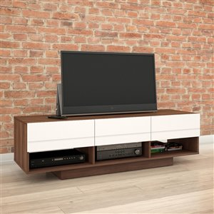 Nexera Radar 60-in Walnut and White TV Stand