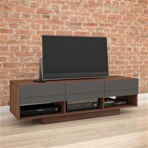 Nexera Radar 60-in Walnut and Charcoal TV Stand