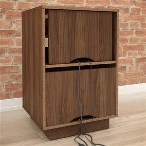 Nexera Radar Walnut and White 1-Drawer Audio Cabinet