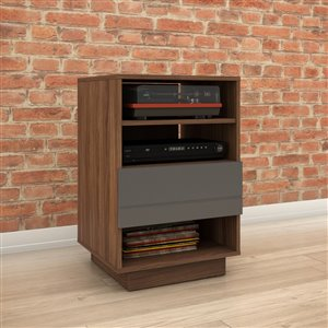 Nexera Radar Walnut and Charcoal 1-Drawer Audio Cabinet