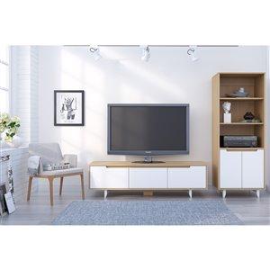 Nexera Nordik White and Natural Maple TV Stand