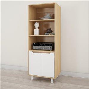 Nexera Nordik White and Natural Maple Bookcase and Audio Tower