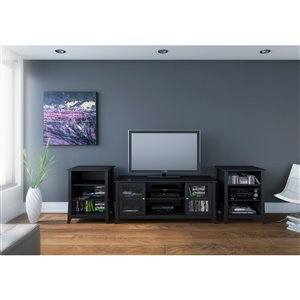 Nexera Tuxedo Black 2-Shelve Audio Tower