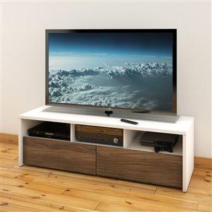 Nexera Liber-T White and Walnut TV Stand