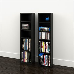 Nexera Sereni-T Black CD/DVD Tower (Set of 2)