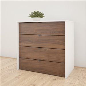 Nexera White and Walnut 4 Drawer Chest