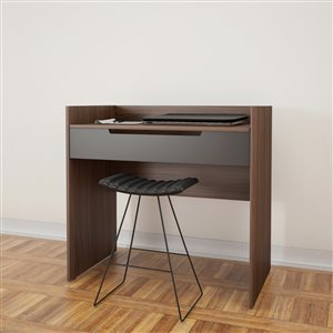 Nexera Alibi Dark Finish 34.13-in x 36-in Walnut/Charcoal Vanity And Writing Desk
