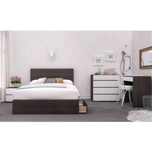 Nexera Allure Mixed Finish 30.75-in x 29.75-in White/Ebony Vanity and Writing Desk