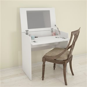 Nexera Matte White 30.75-in x 29.75-in Vanity and Writing Desk with Enclosed Storage and Mirror