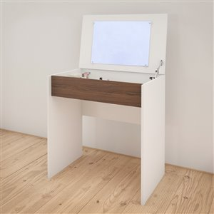 Nexera White/Walnut 30.75-in x 29.75-in Vanity and Writing Desk With Enclosed Storage And Mirror