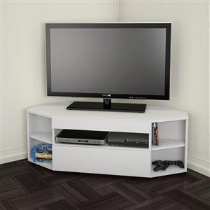 Nexera Blvd White Corner TV Stand