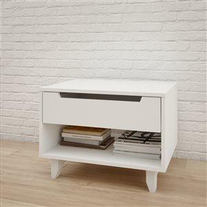 Nexera 1-Drawer White Nightstand