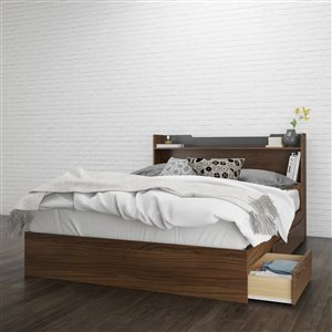 Nexera Queen Size Storage Headboard Walnut and Charcoal