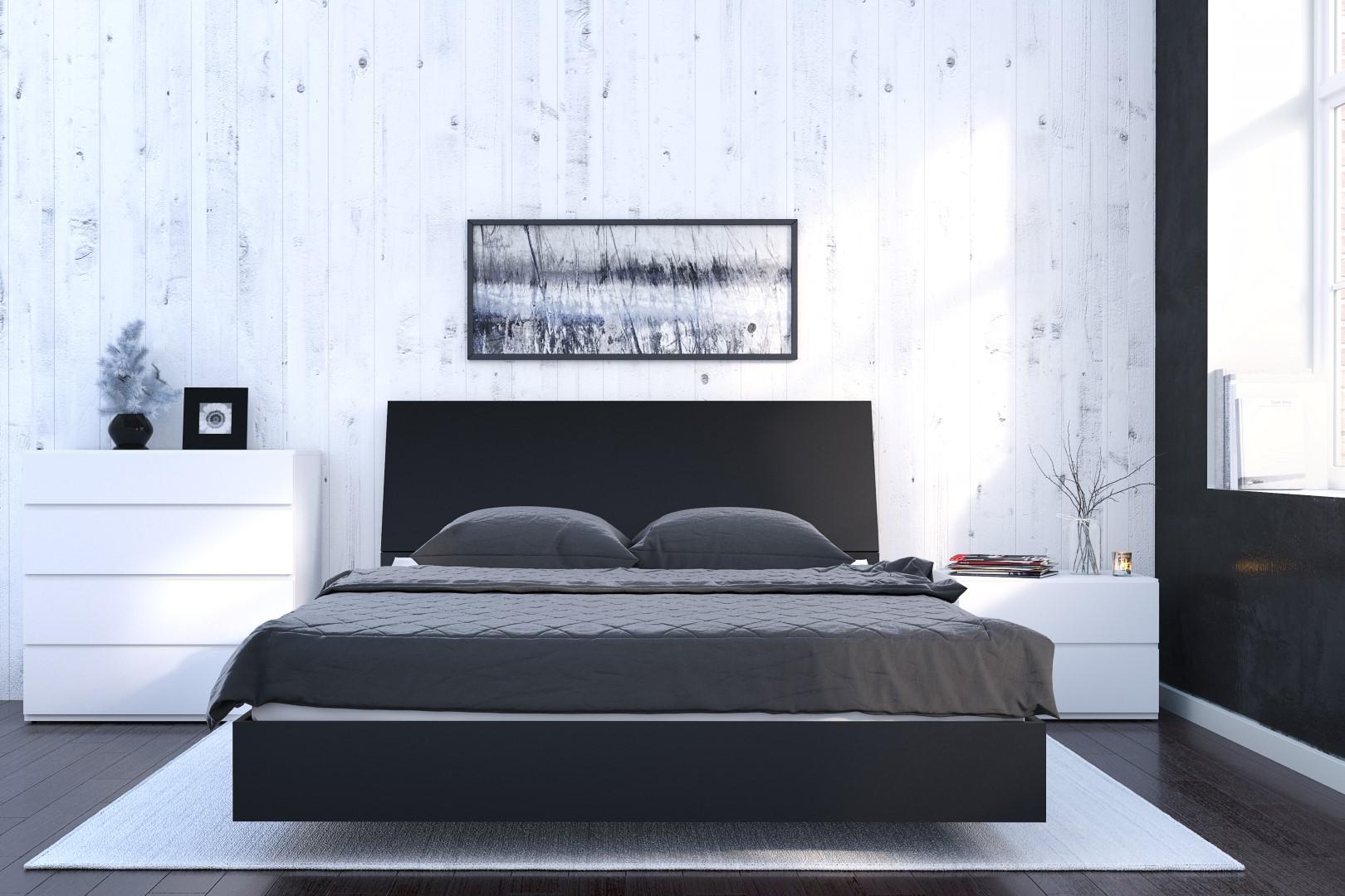 nexera black 8175 in x 6125 in queen size platform bed