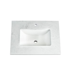 Foremost Ariston 25-in White Engineered Stone Top Single Hole
