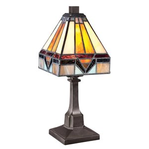 Fine Art Lighting Ltd. Tiffany 6-in x 12-in with Vintage Bronze Base and Multi Coloured Glass Shade Table Lamp