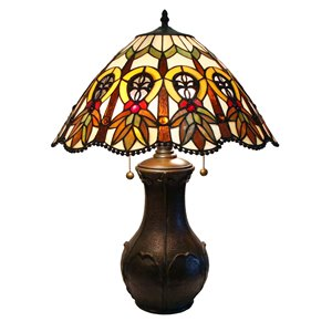 Fine Art Lighting Ltd. Mission 21-in Vintage Bronze Tiffany Style 2-Light Table Lamp