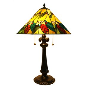 Fine Art Lighting Ltd. Tiffany 17-in x 26-in with Vintage Bronze Base and Multi Coloured Glass Shade Table Lamp
