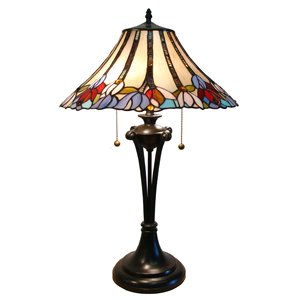 Fine Art Lighting Ltd. Tiffany 16-in x 25-in with Vintage Bronze Base and Multi Coloured Glass Shade Table Lamp