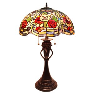 Fine Art Lighting Ltd. Tiffany 17-in x 28-in with Vintage Bronze Base and Multi Coloured Glass Shade Table Lamp