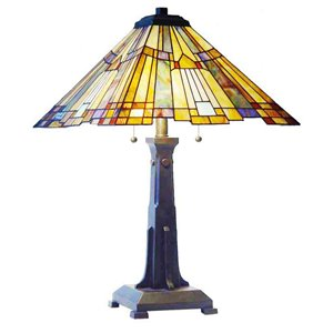 Fine Art Lighting Ltd. Mission 25-in Bronze Tiffany Style 2-Light Table Lamp