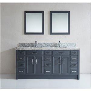Spa Bathe Calumet 75-in Double Sink Pepper Gray Bathroom Vanity with Marble Top